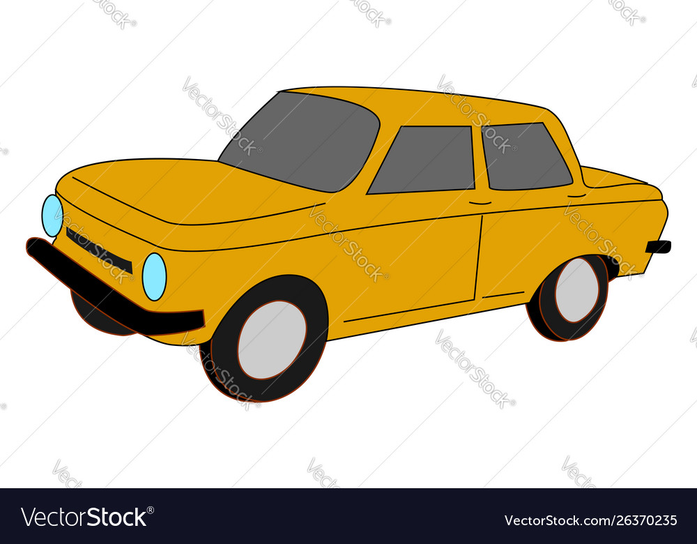 Yellow car on white background