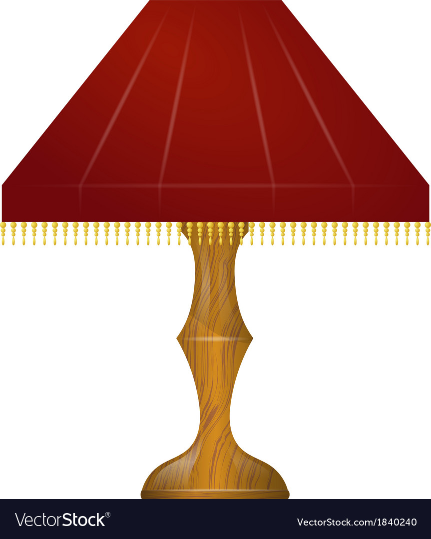 A Red Table Lamp Vector Image