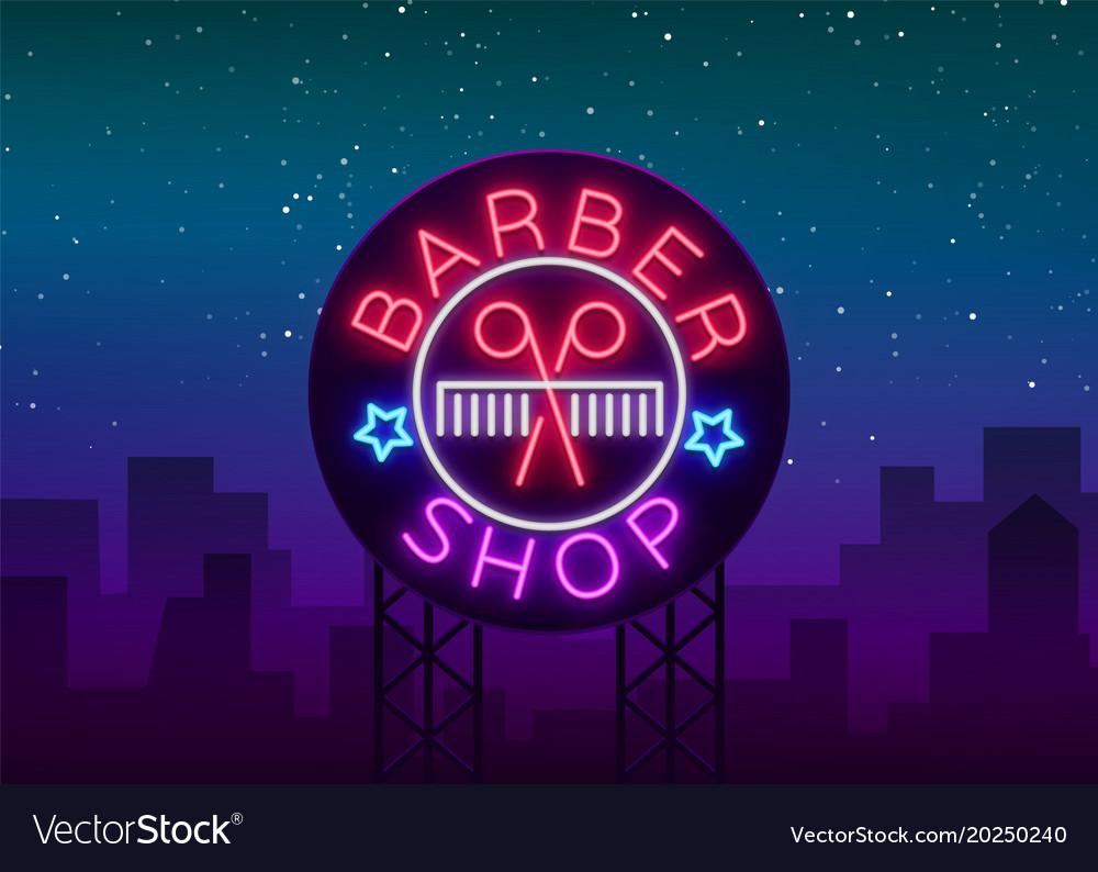 Barber shop logo neon sign logo design elements