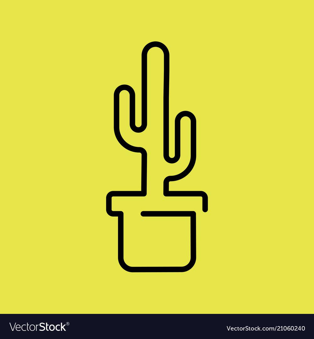 Cactus plant in a pot icon line art