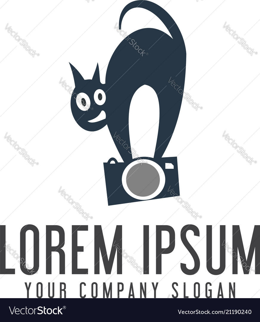 Camera cat logo design concept template