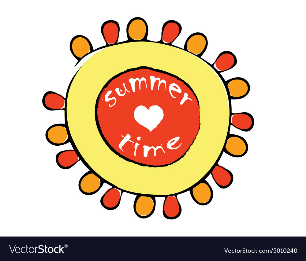 Cartoon red and yellow sun vector image