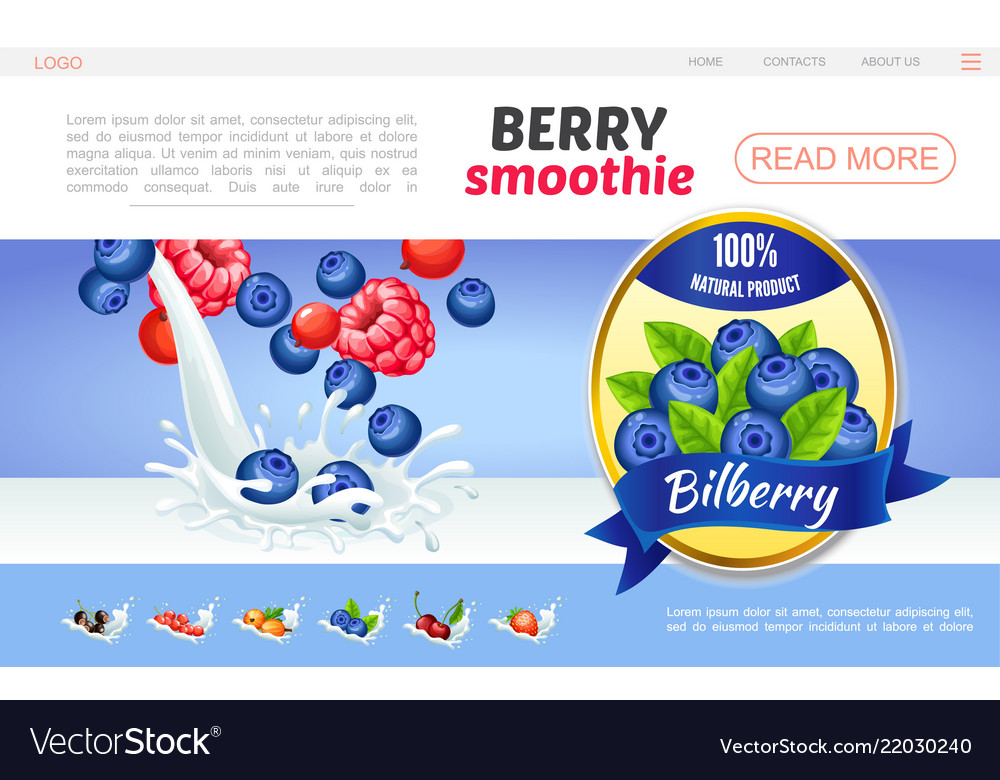 Cartoon sweet natural smoothies webpage concept