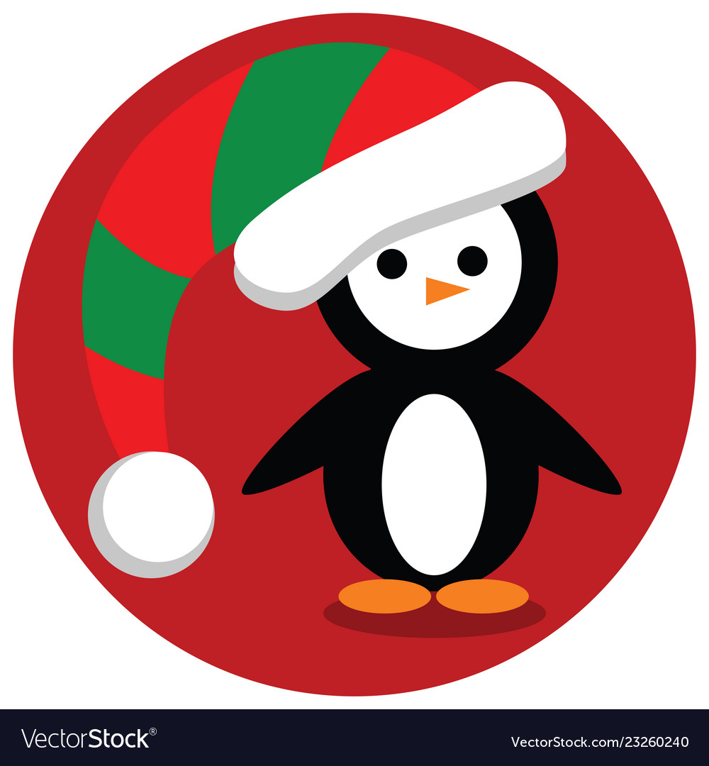 Christmas penguin in red and green stocking cap Vector Image 4f9814a5de7