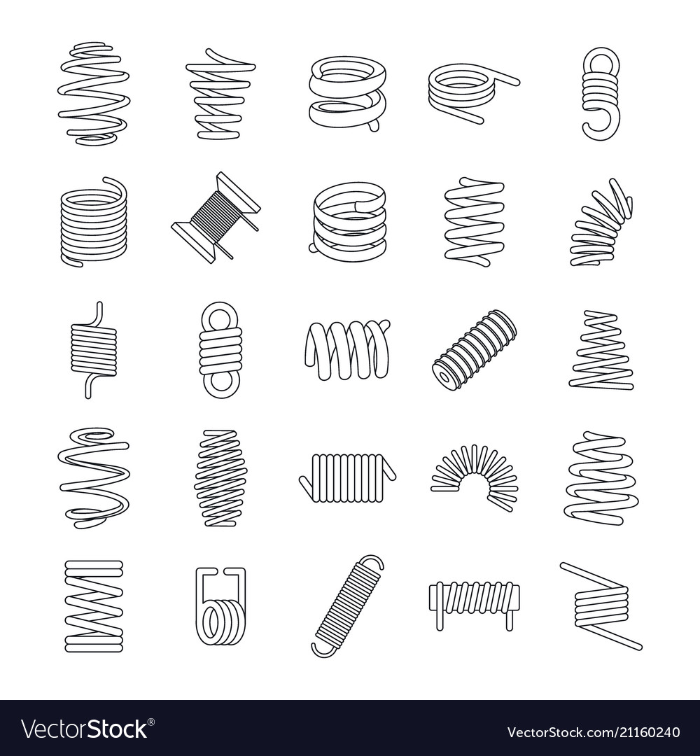 Coil spring cable icons set outline style