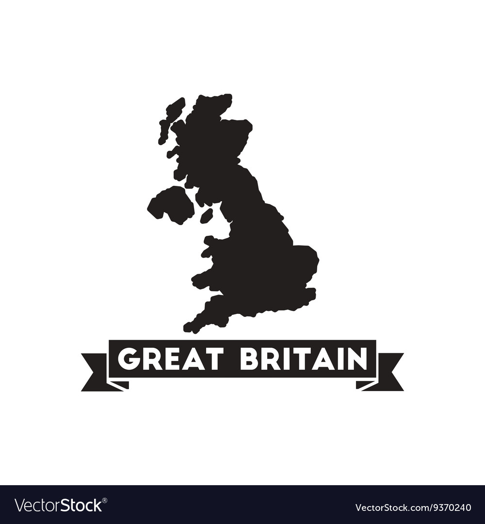93feecafde246 Flat icon in black and white United Kingdom map Vector Image