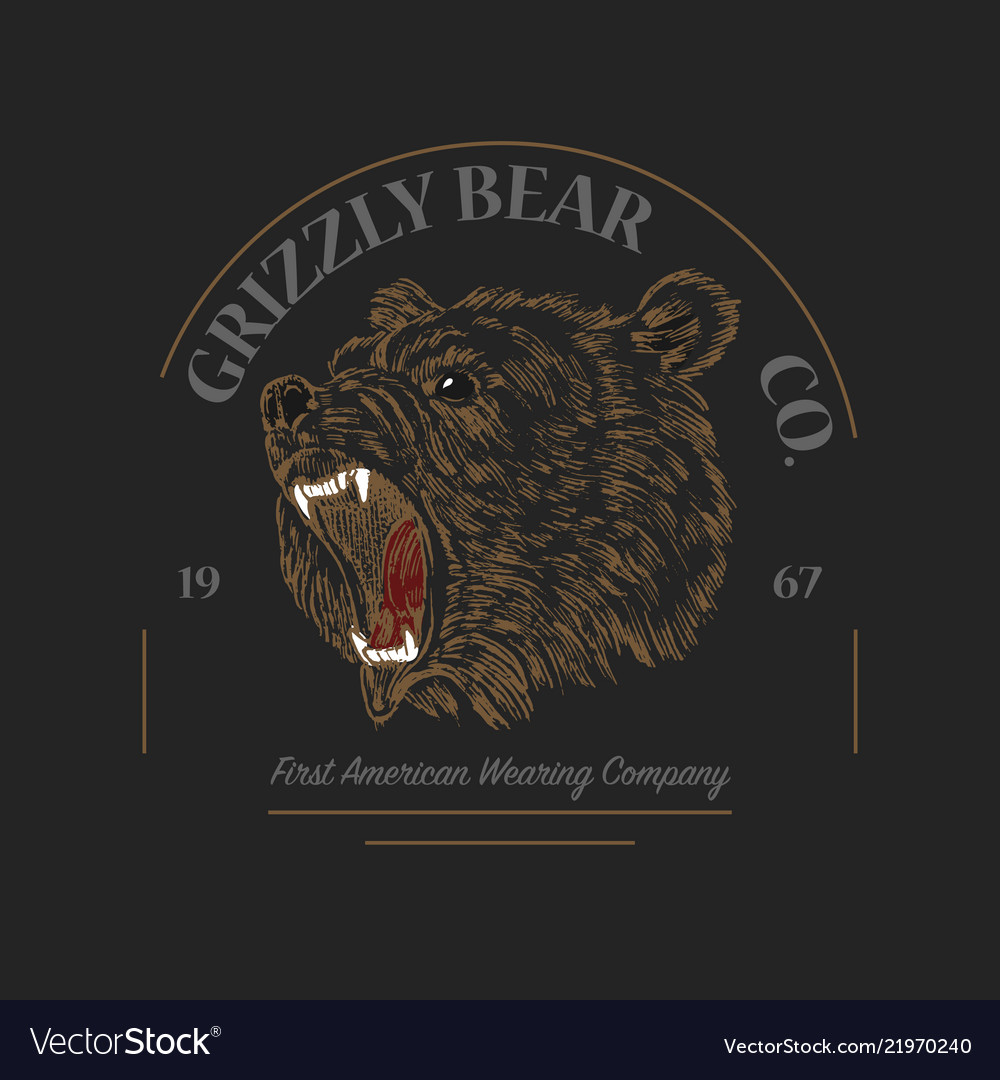 Grizzly bear logo grunge label print angry roar