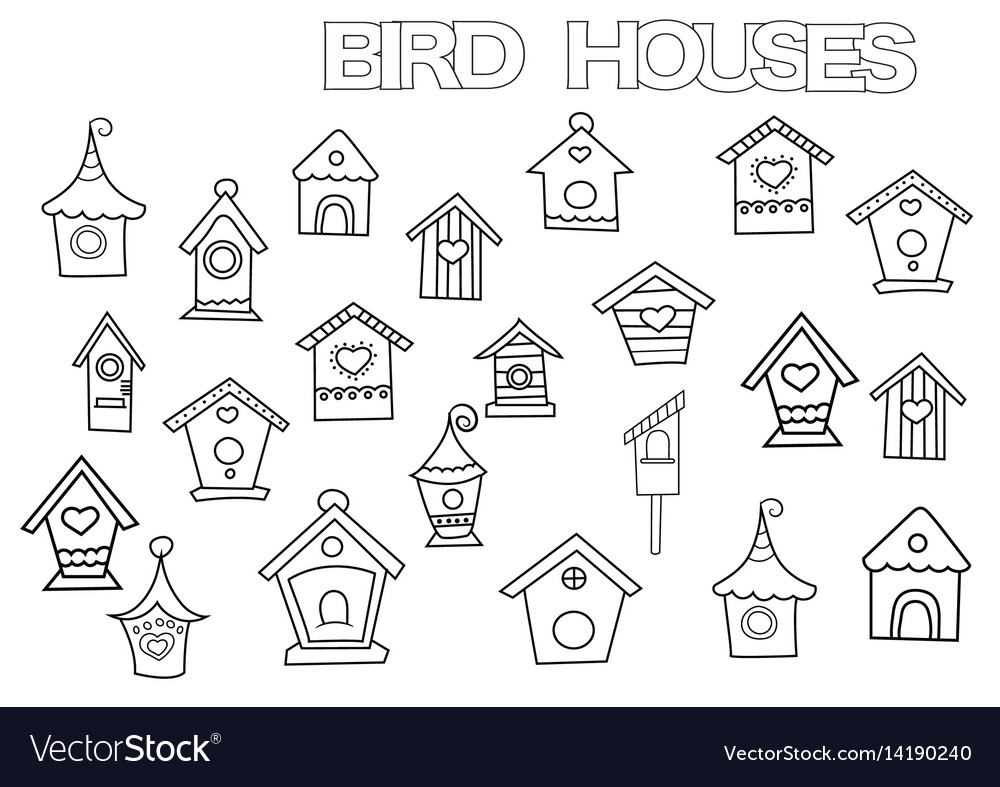 Hand drawn bird houses set coloring book page