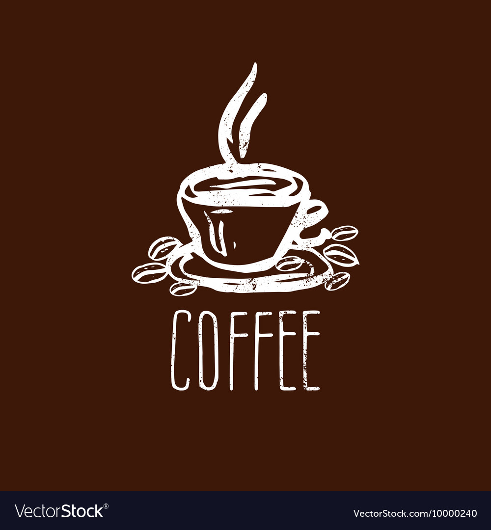 Hand drawn logo with coffee cup