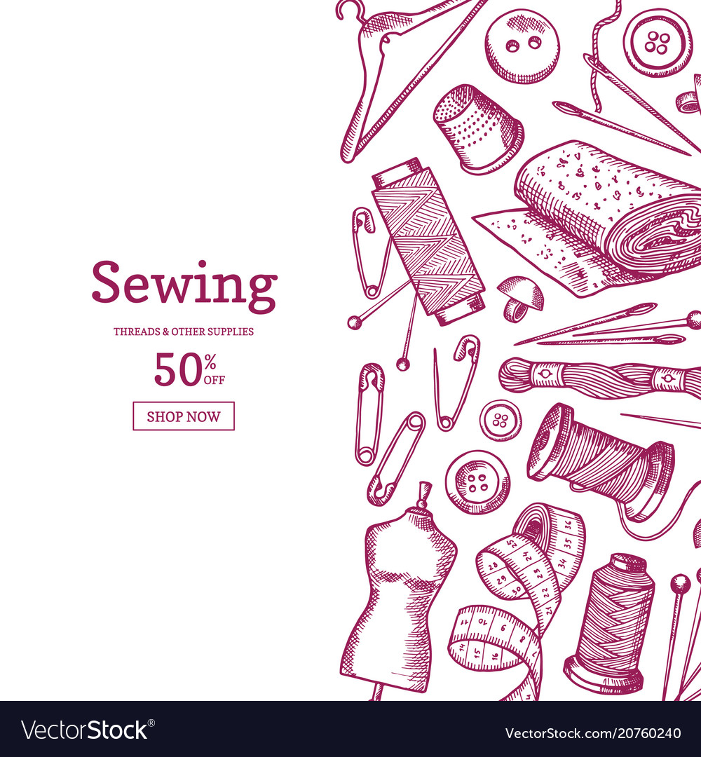 Hand drawn sewing elements background