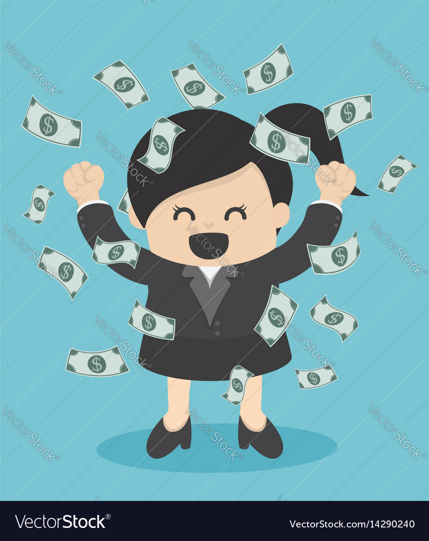 Happy business woman money rain throwing money up vector image