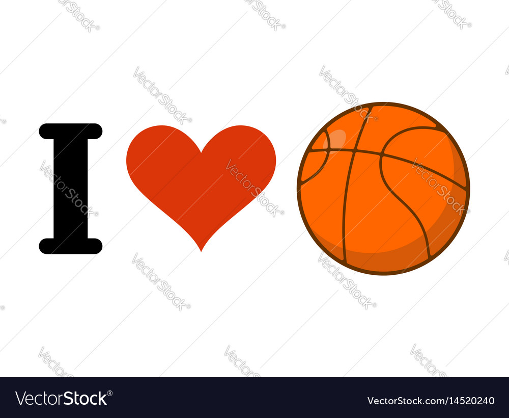 I love basketball heart and ball games emblem for