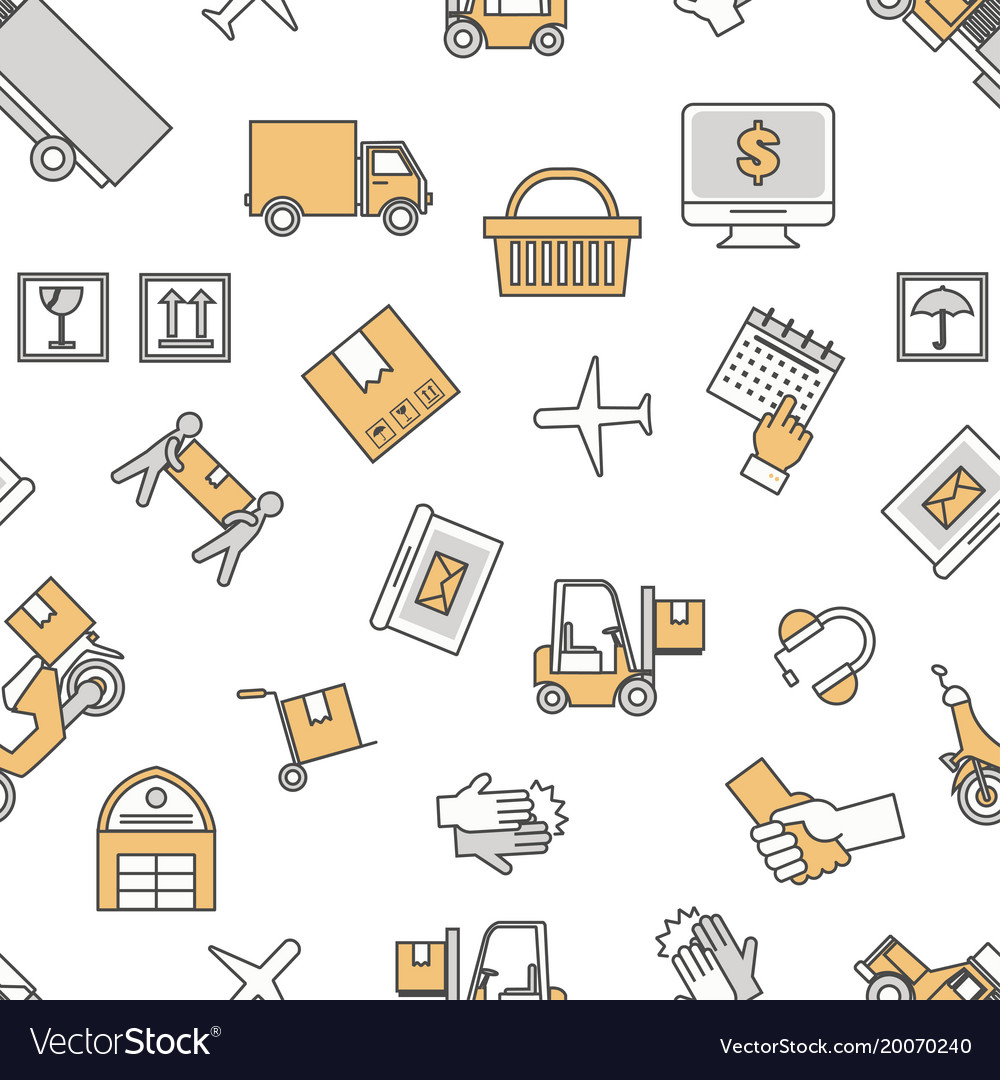 Logistic services seamless pattern thin