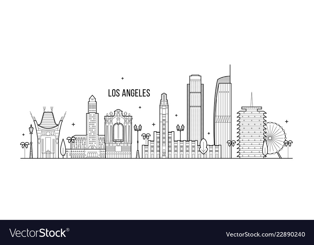 Los angeles skyline usa big city buildings