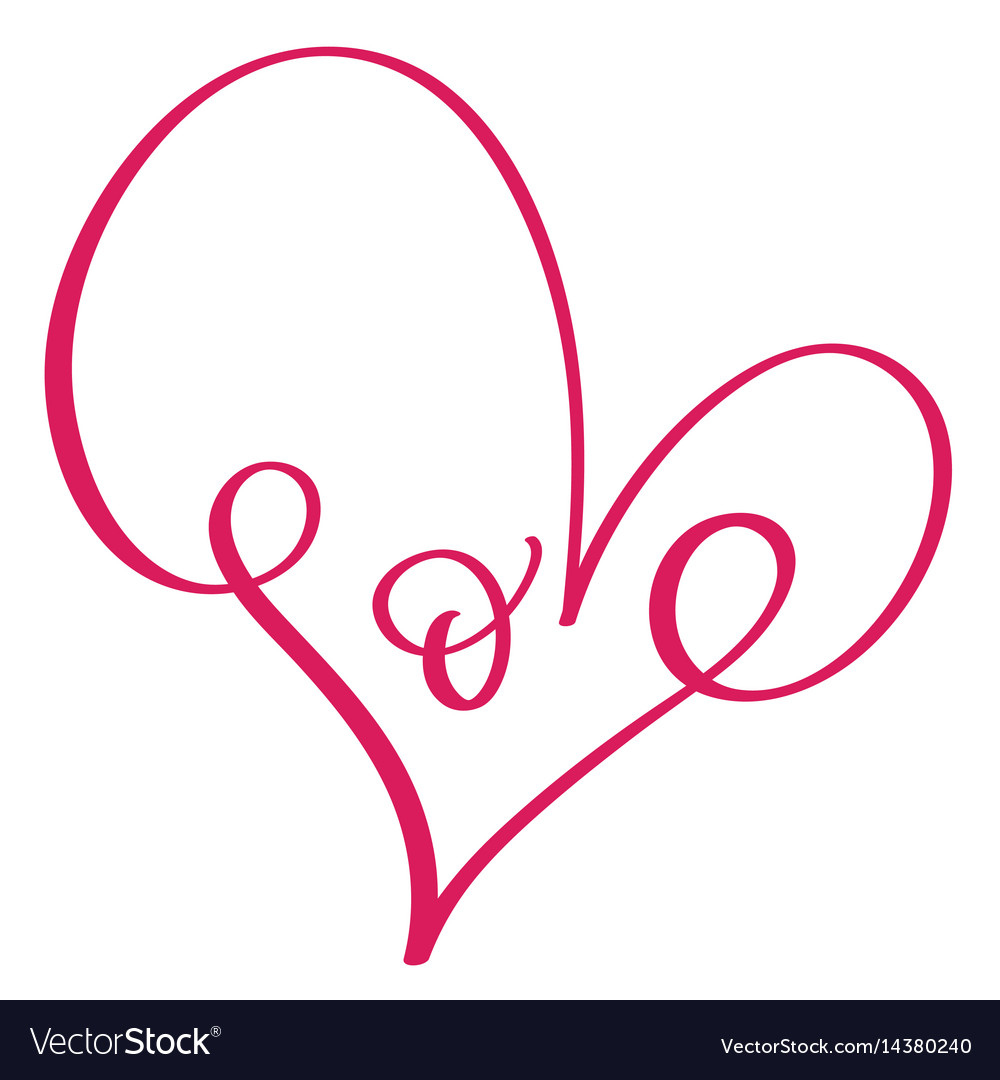 Love word in red heart calligraphy and