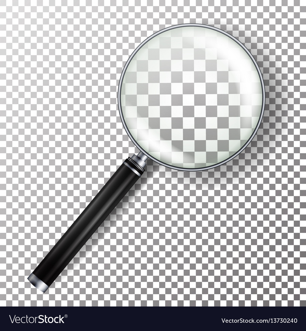 Realistic magnifying glass isolated on