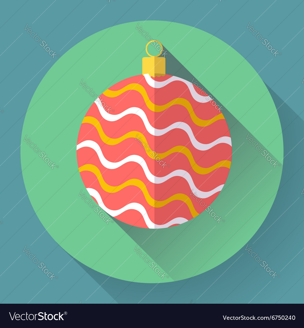 Red christmas ball decoration icon Flat designed vector image