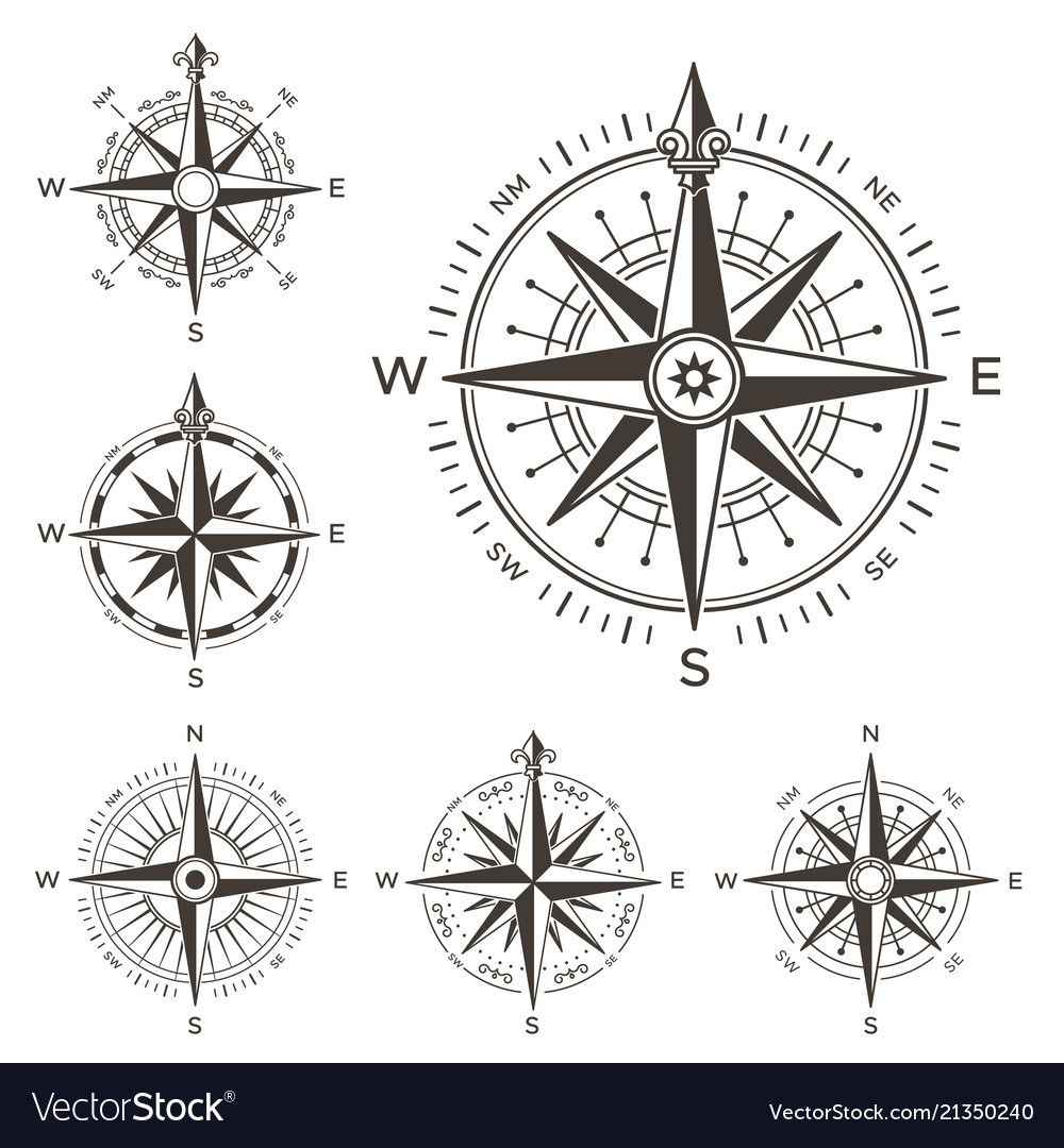 Retro nautical compass vintage rose of wind for