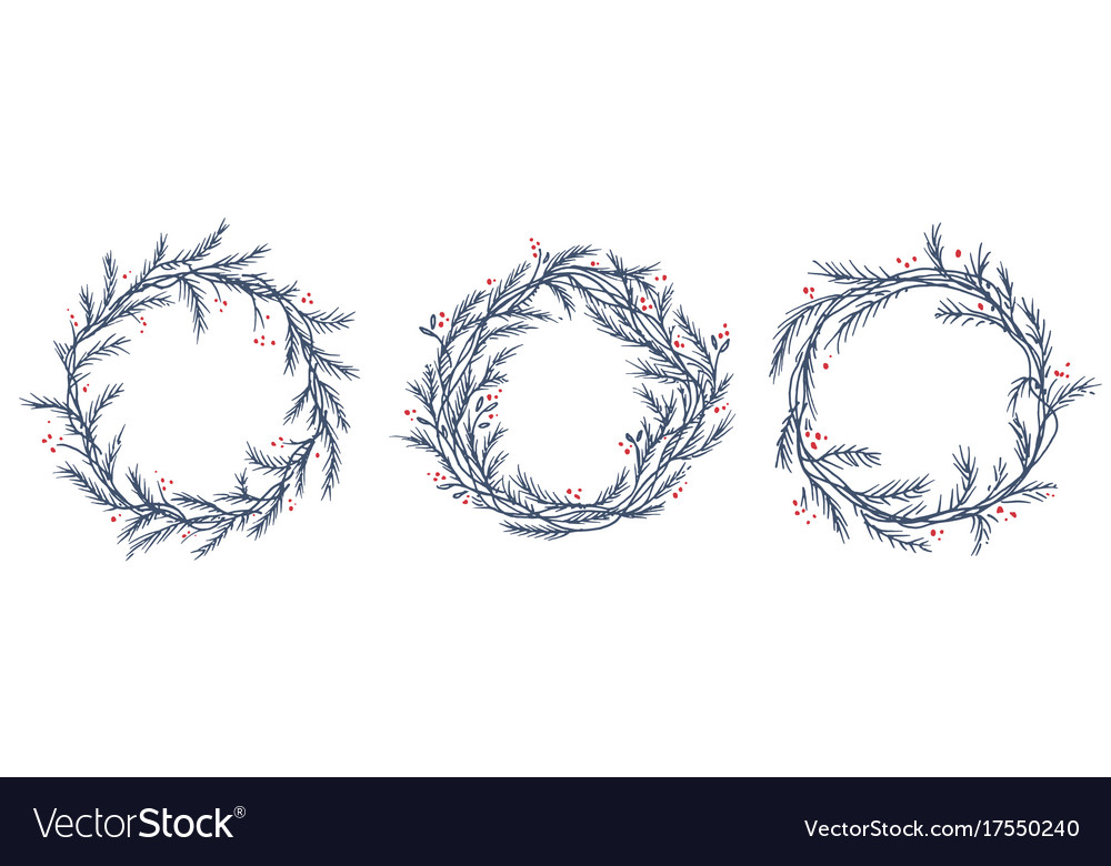 Christmas Wreath Silhouette.Set Of Silhouette Christmas Wreath Frames