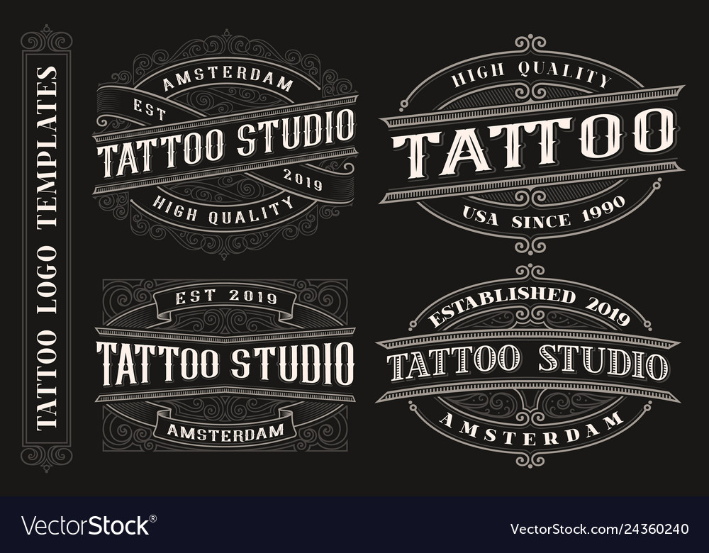 Set of vintage tattoo emblems logos badges