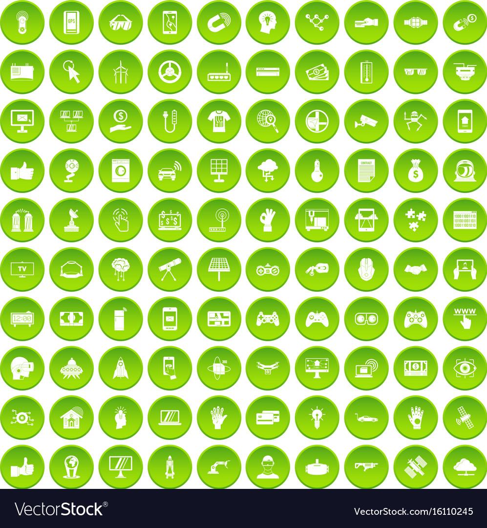 100 hi-tech icons set green vector image