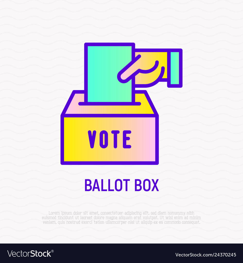 Ballot box hand puts envelope with vote in box