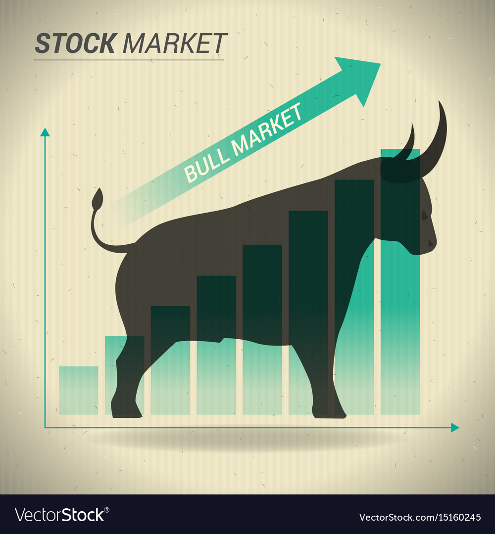 Bull market concept presents stock market with