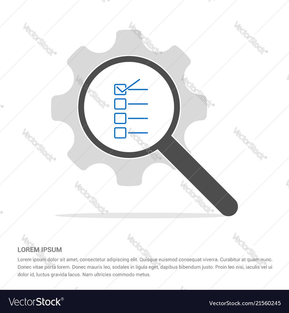 Check list ok icon search glass with gear symbol