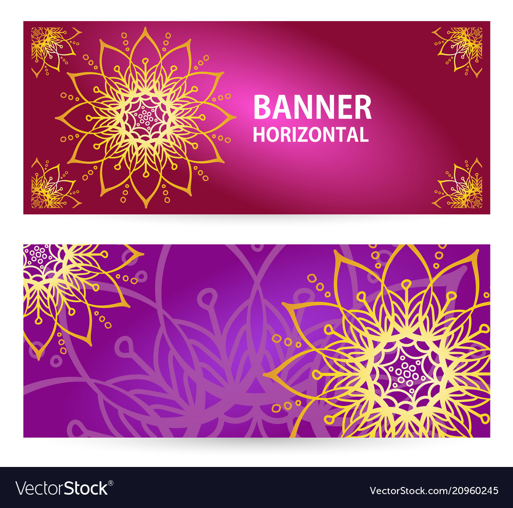 Colored horizontal banners with oriental motifs
