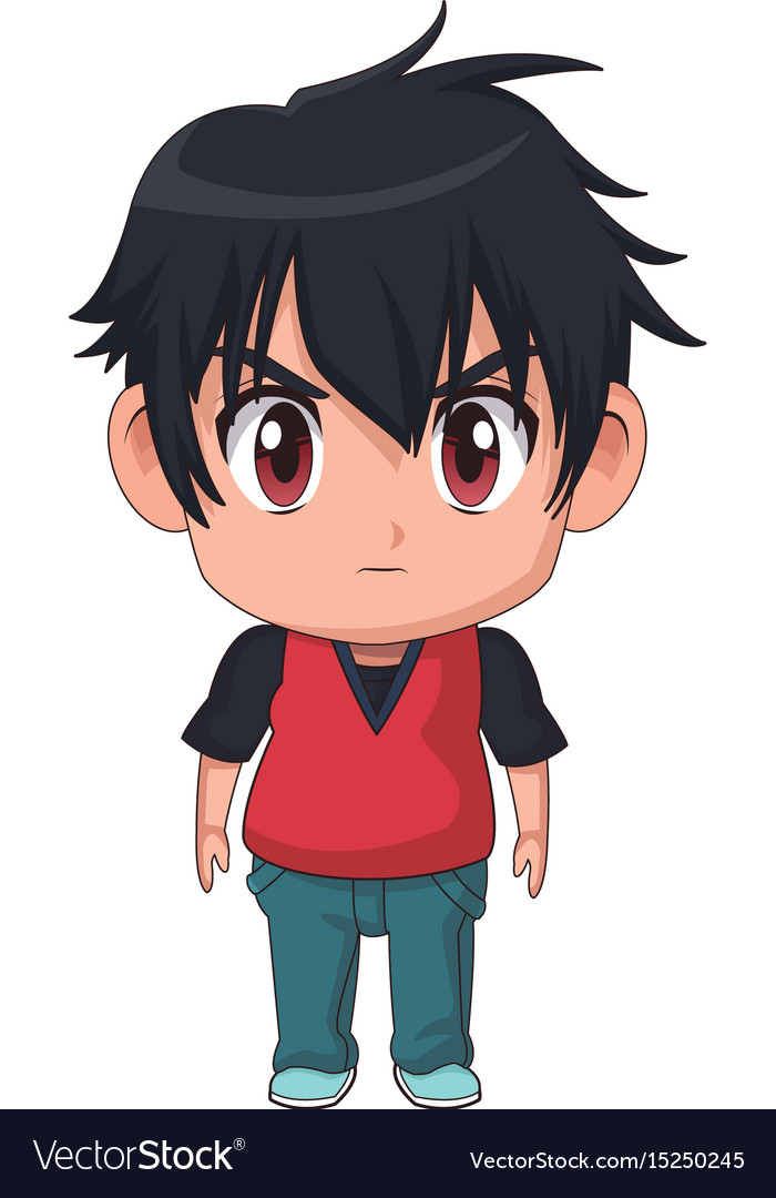 Cute little boy anime facial expression image vector image
