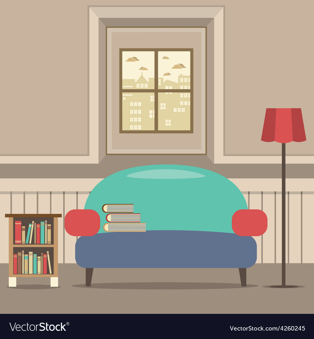 Empty Couch With Bookcase In Front Of Window
