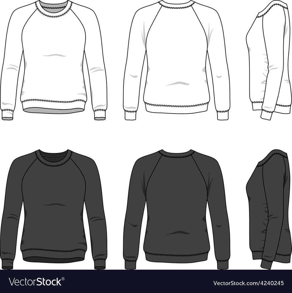 Front back and side views of blank sweatshirt vector image