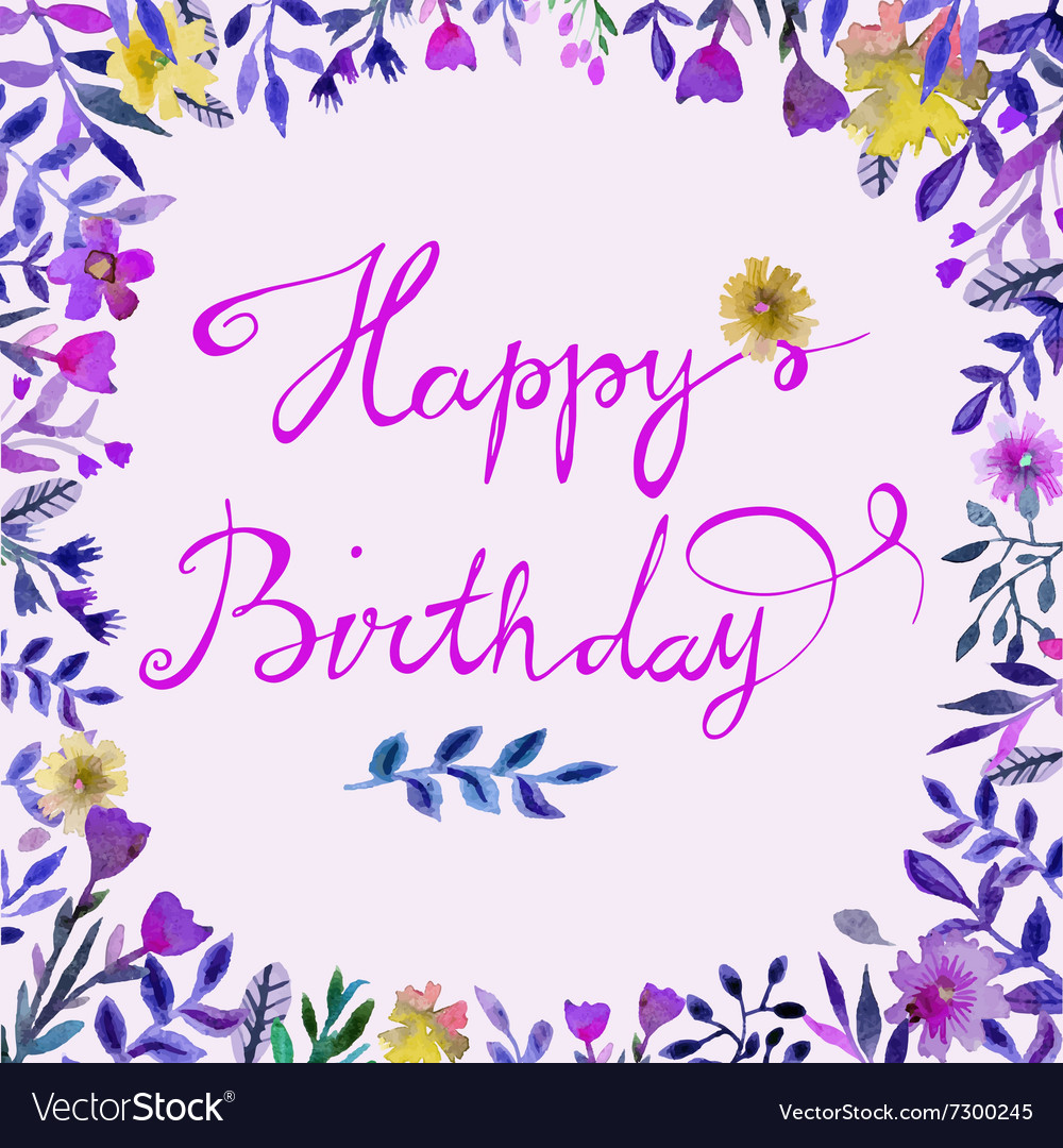 Happy Birthday card Watercolor round frame with