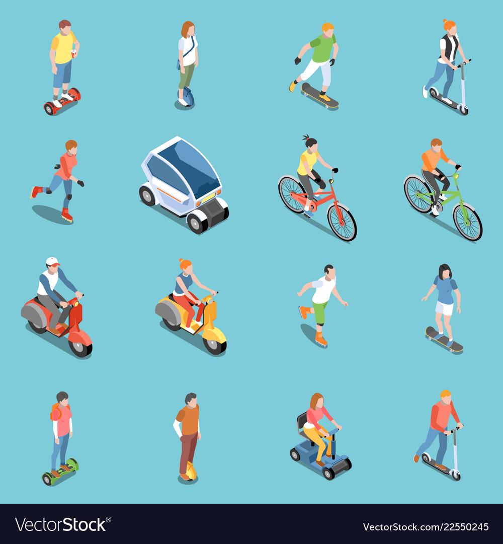 Personal eco transportation icons set
