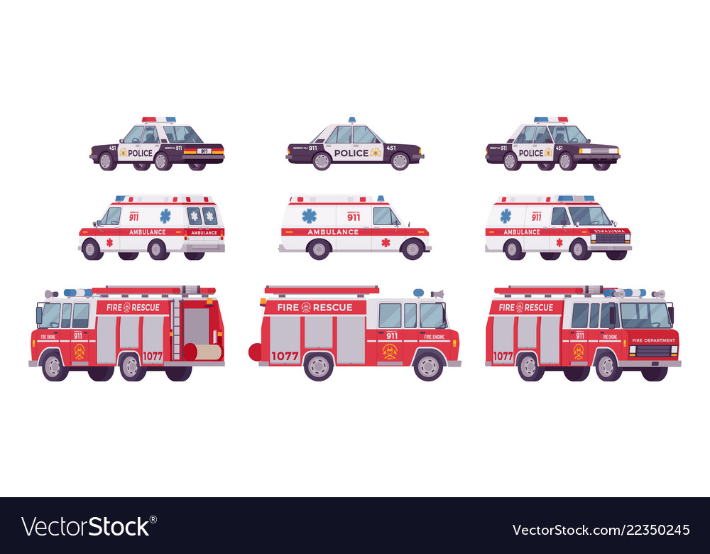 Police car ambulance fire truck set