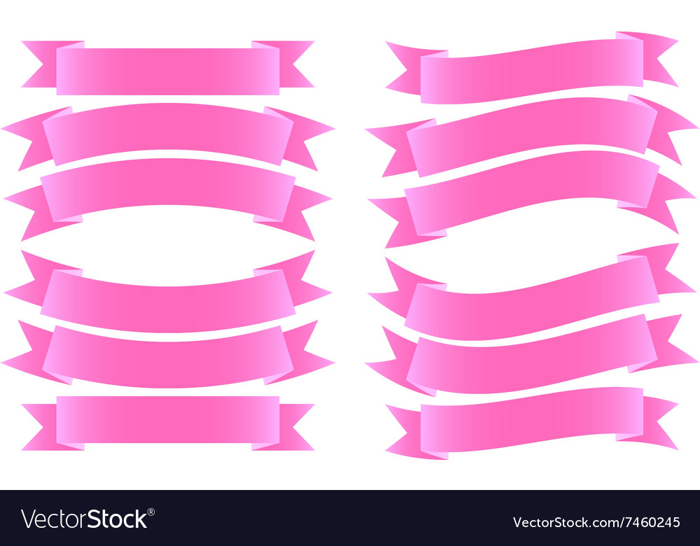 Ribbon banner pink vector