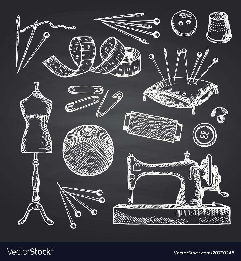 Set of hand drawn sewing elements on black