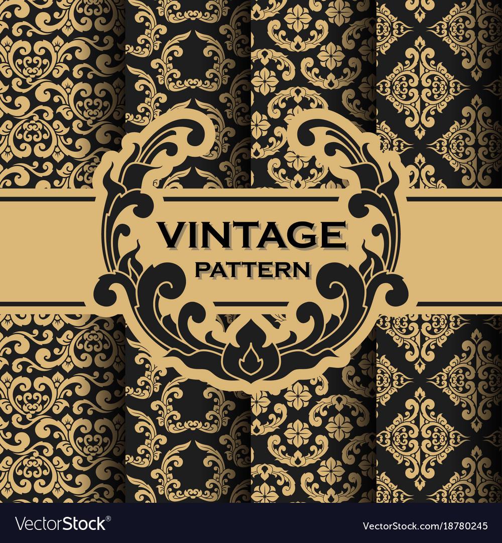 Set of vintage flourishes vine seamless pattern