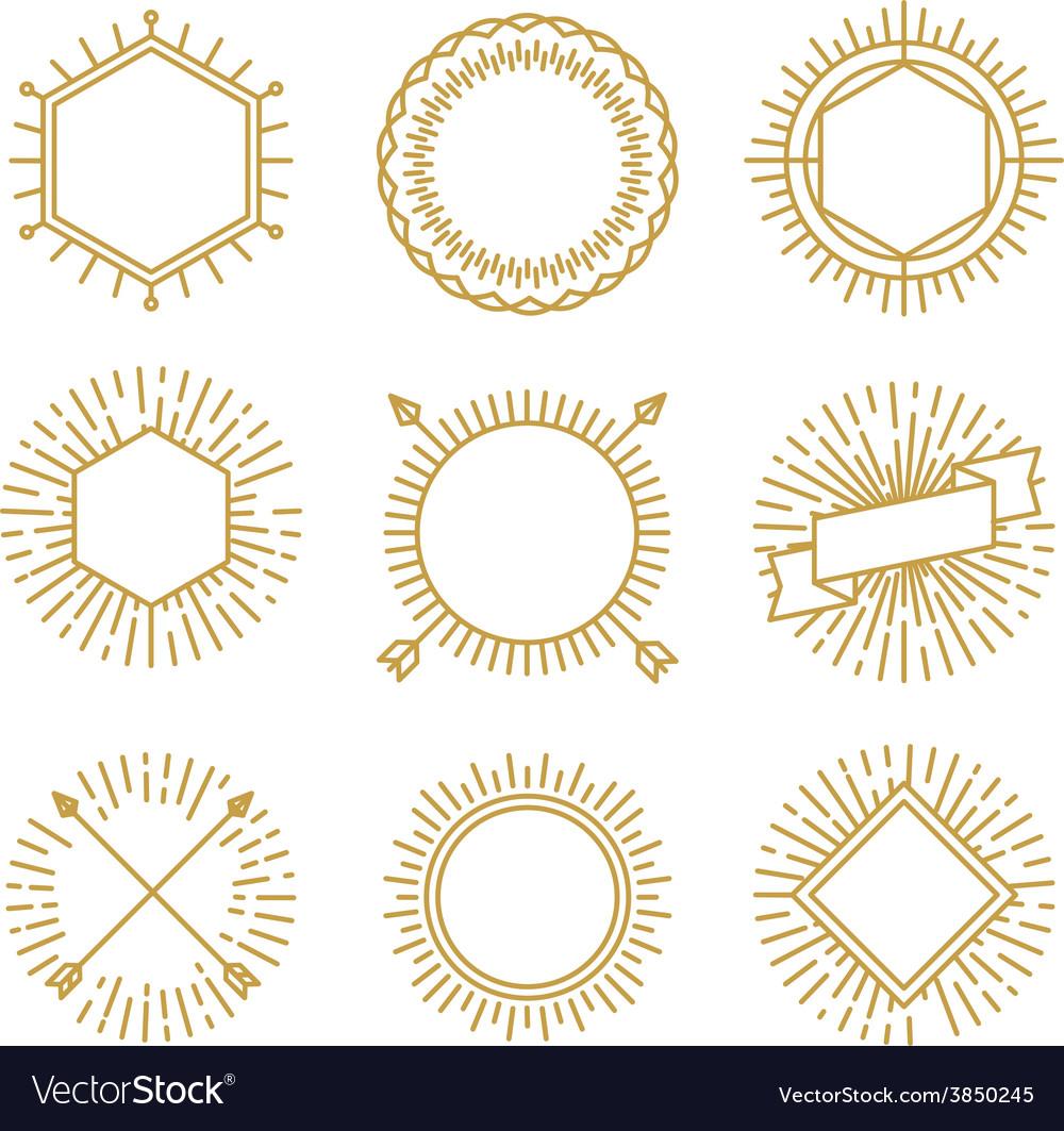 Set outline emblems and badges