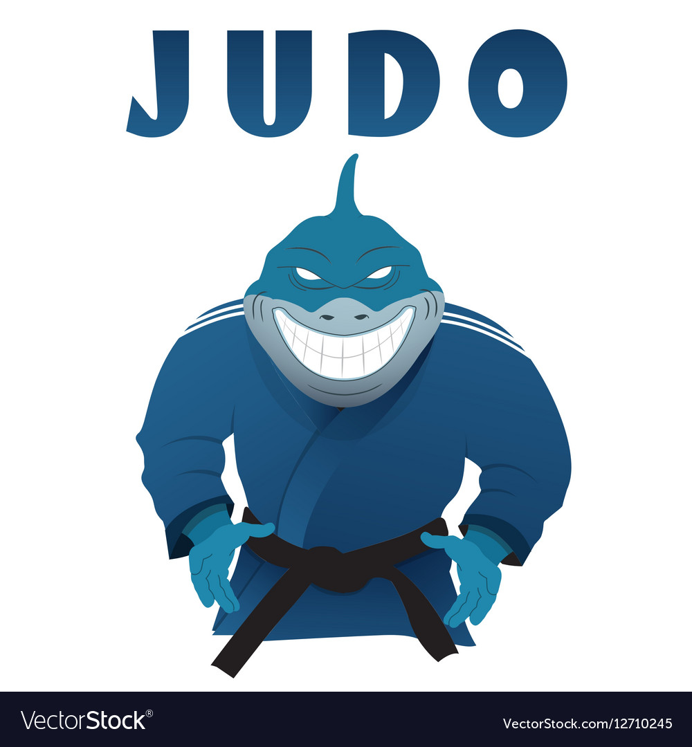 Shark judo fighter in kimono