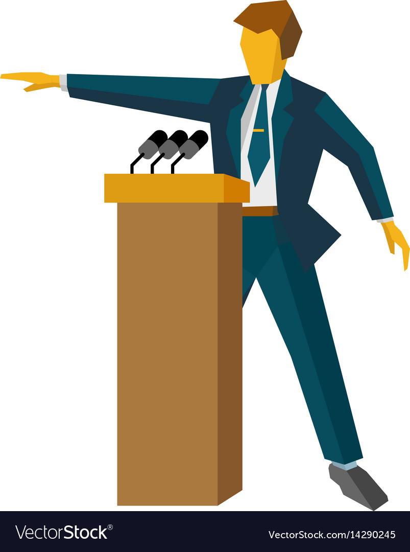 Speaker at podium man standing at rostrum