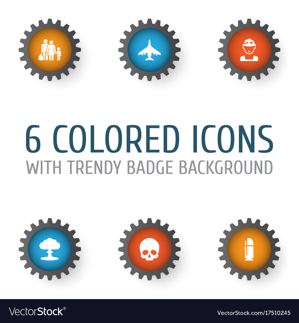 Warfare icons set collection of military cranium vector image