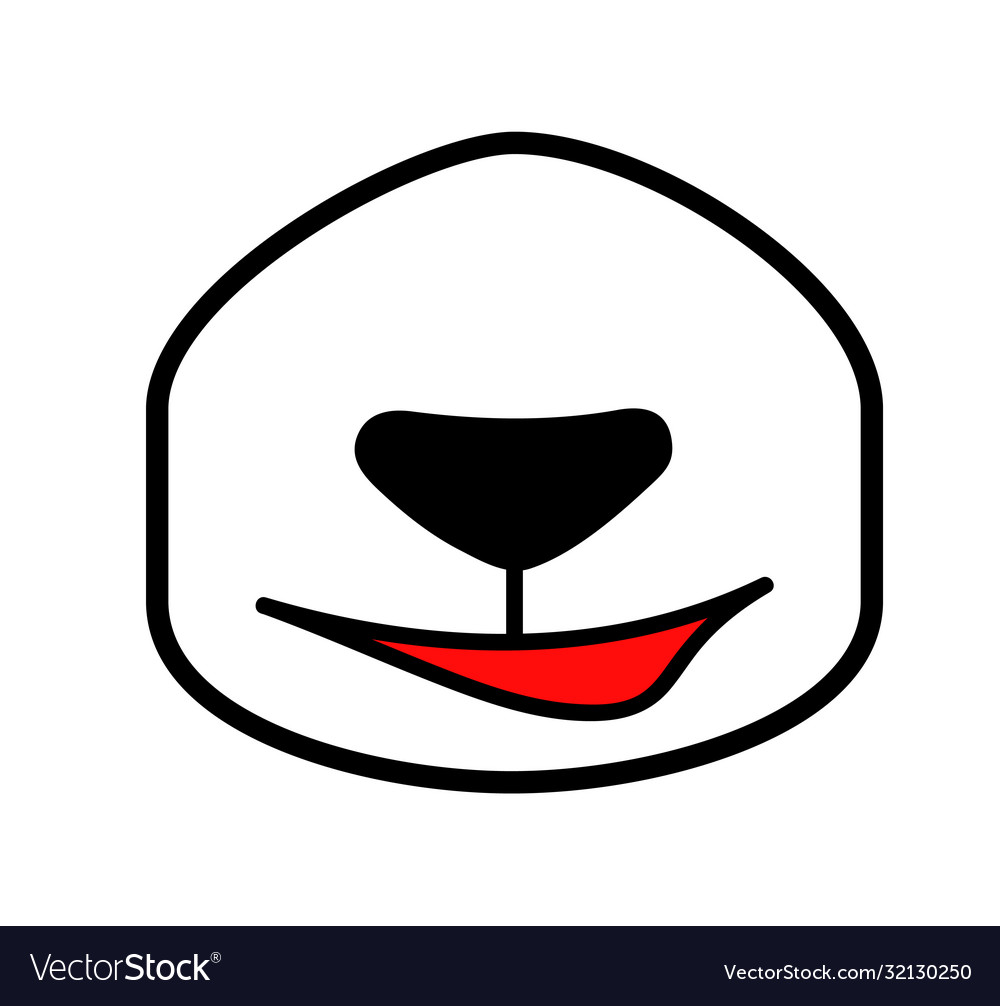 Cartoon panda mouth drawn nose with a smile