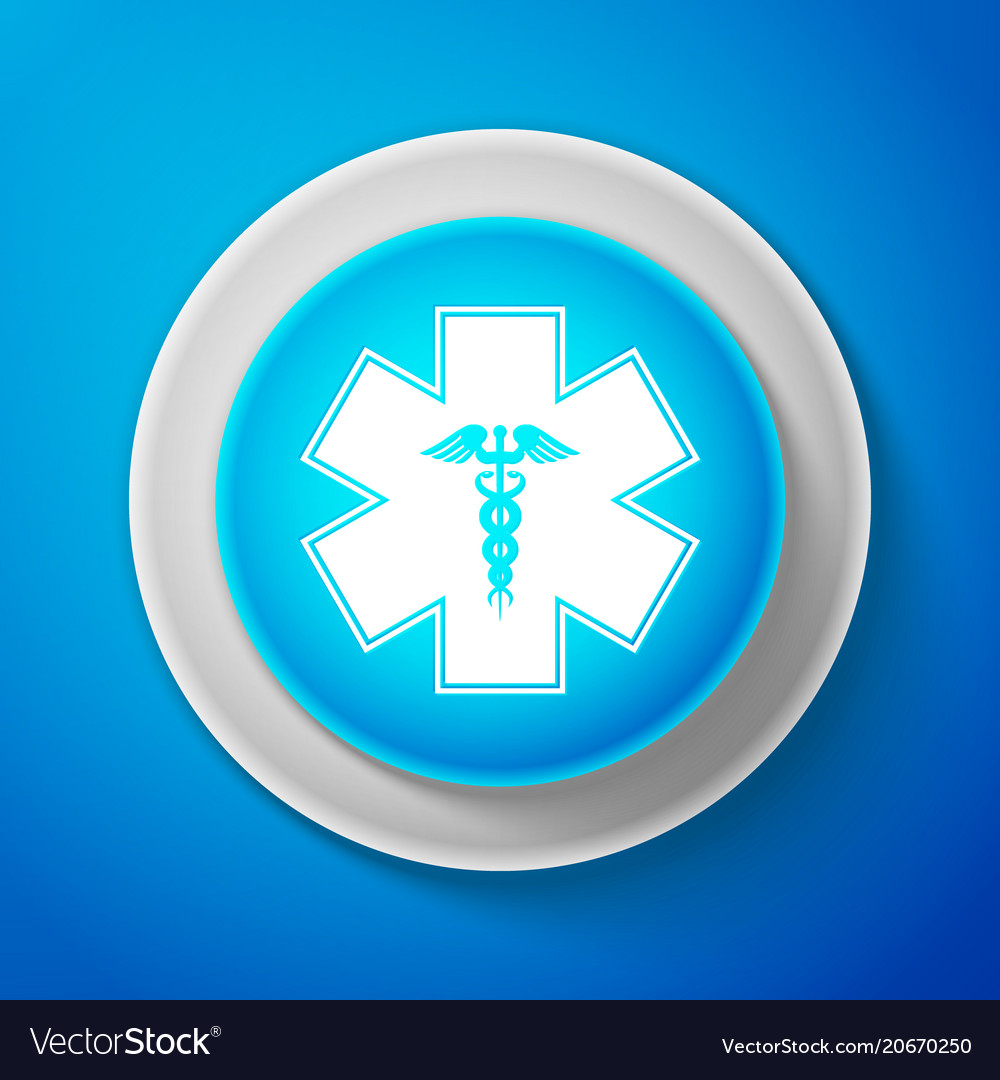 Emergency Star Symbol Caduceus Snake With Stick Vector Image