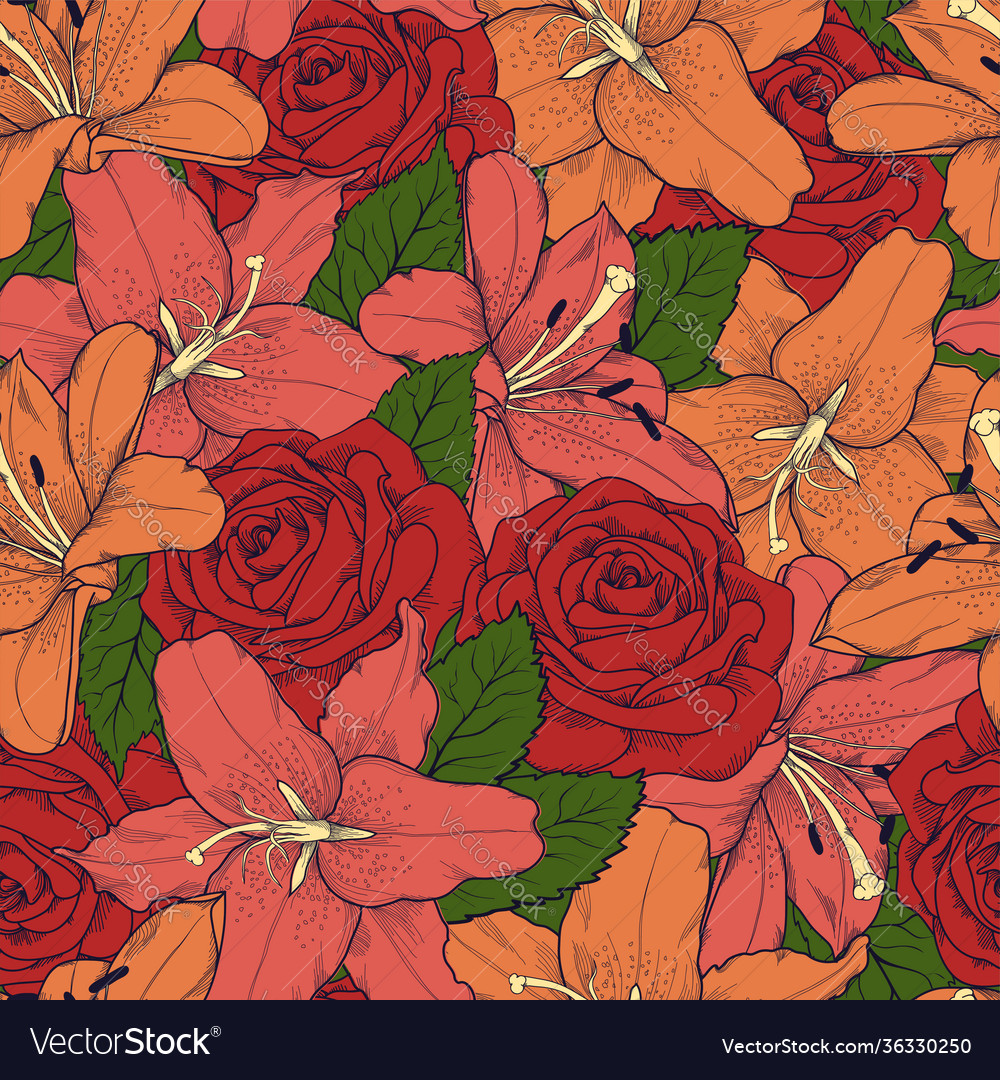 Hand drawn floral abstract pattern creative