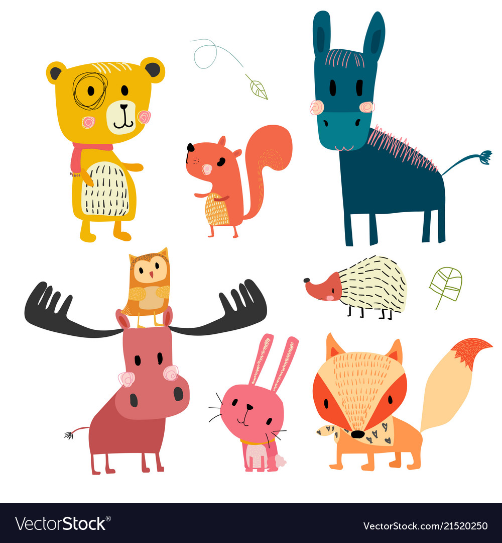Hand drawn wild animal cute character collection