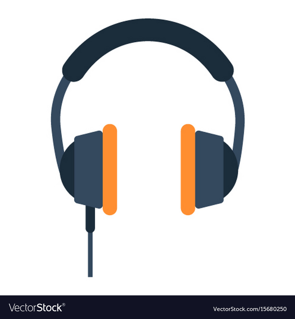 Headphone Flat Icon Listen And Music Royalty Free Vector Image