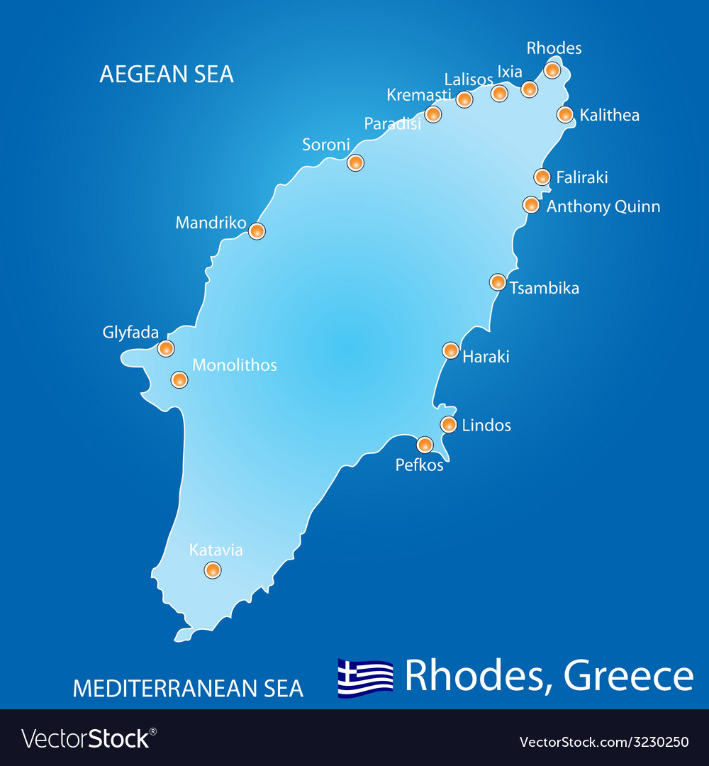 Island of Rhodes in Greece map vector image