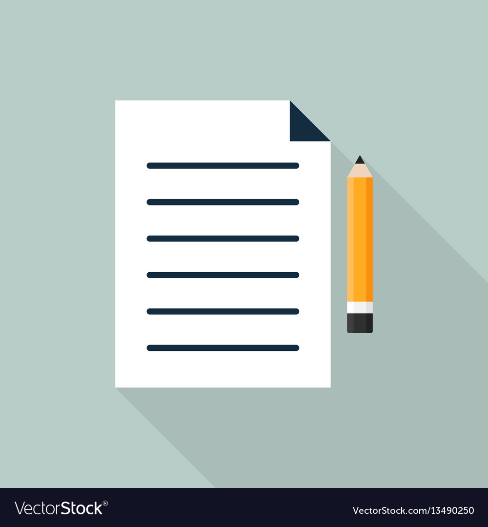 Paper and pencil icon flat design vector image