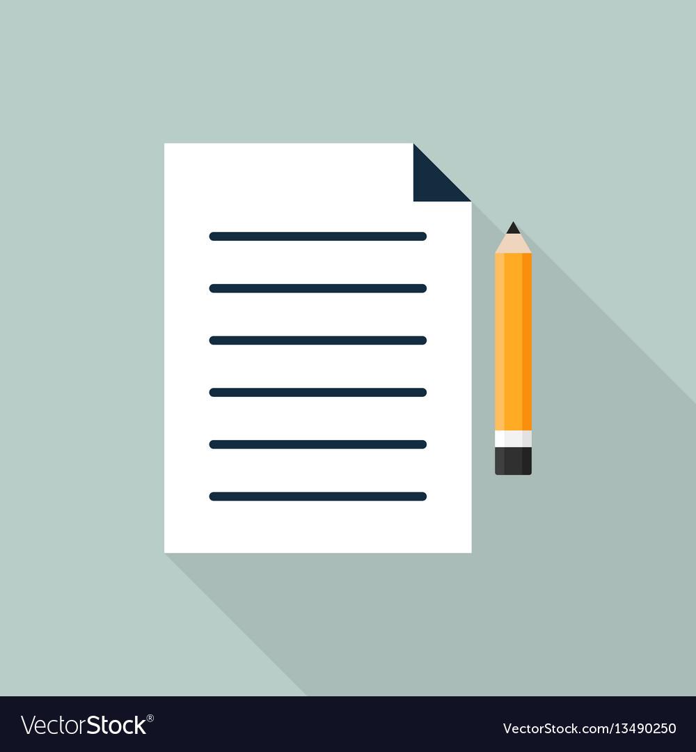 Paper and pencil icon flat design
